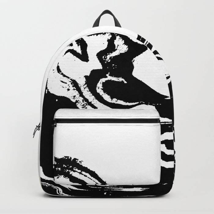Seffi - abstract ink sun ocean sea water wave minimalist black and white with gold Backpack