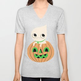 Halloween Gang Pale Orange Unisex V-Neck
