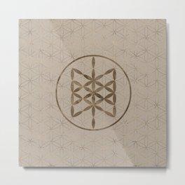 Web of Wyrd in Flower of life Pastel Gold Metal Print