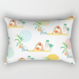 Summer Yoga Pose with Cat and Plants Rectangular Pillow