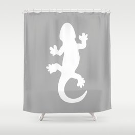 Whtie and Grey Lizard Shower Curtain
