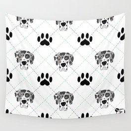 Merle Great Dane Paw Print Pattern Wall Tapestry