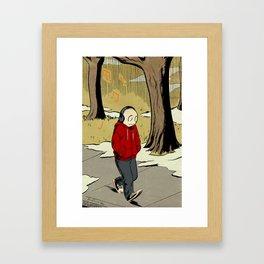 The Li'l Depressed Boy -- November Stroll Framed Art Print