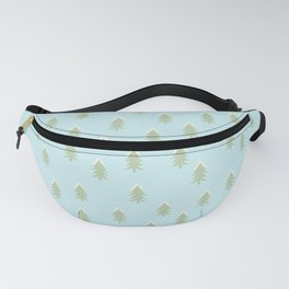 Merry christmas- With snow covered x-mas trees pattern on aqua background Fanny Pack