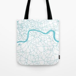London White on Turquoise Street Map Tote Bag