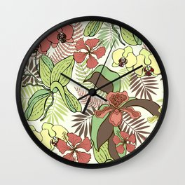 Tropical flowers and leaves. Orchids and hibiscuses. Wall Clock
