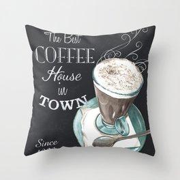 Retro Chalkboard Coffee 2 Throw Pillow