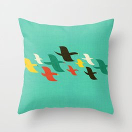 Birds are flying Throw Pillow