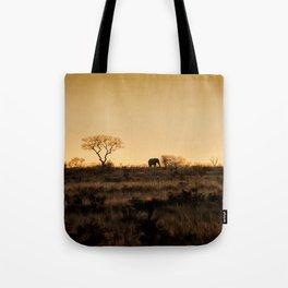 Elephant Sunset Silhouette Tote Bag