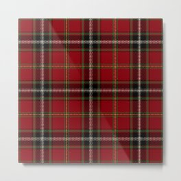 Classic Christmas Red Tartan Plaid Metal Print