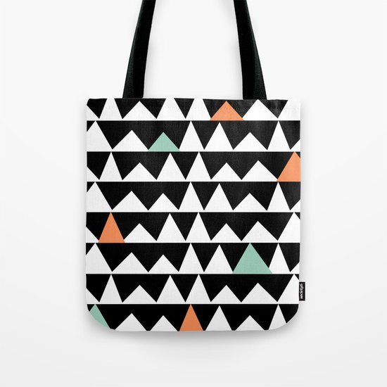 Tribal Triangles, Geometric Aztec Andes Pattern Tote Bag