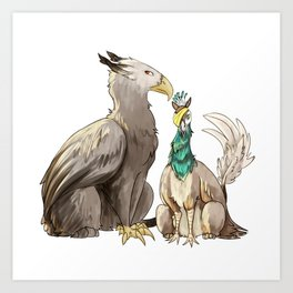 Eagle and Peacock Griffins Art Print