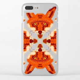 Fox Cross geometric pattern Clear iPhone Case