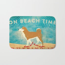 Beach Time Shiba Inu by Stephen Fowler Bath Mat