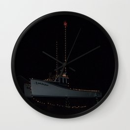 South Rustico Christmas Fishing Boat Wall Clock