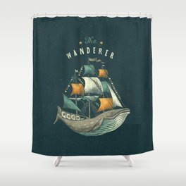 Whale | Petrol Grey Shower Curtain