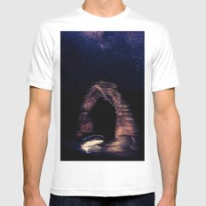 Blue Night Sky Stars - Delicate Arch Arches National Park Utah MEDIUM White Mens Fitted Tee