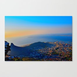 Cape Town Landscape from Table Mountain; Vivid Colors, Abstract Impressionistic Photo Canvas Print