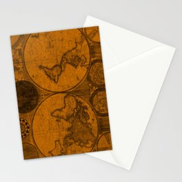 World Map (1794) Orange & Black Stationery Cards