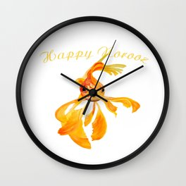 Happy Norooz Persian New Year Goldfish Isolated Wall Clock