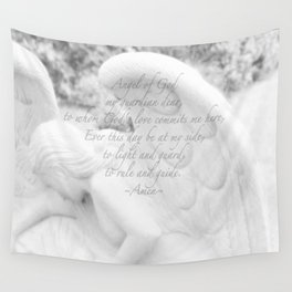 Guardian Angel Prayer | White Angel | Religious Art | Baptism | First Communion Wall Tapestry