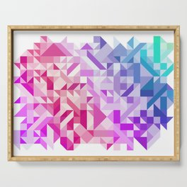 Colorful Geometric Pattern Saturated Rainbow Pattern Design (Red Pink Purple Blue) Serving Tray