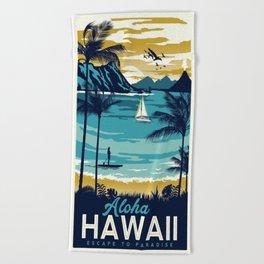Vintage poster - Hawaii Beach Towel
