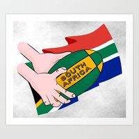 south africa Art Prints featuring South Africa Rugby by mailboxdisco