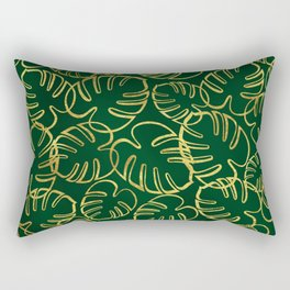 Tropical Leaves Pattern - Gold  Effect on Green Rectangular Pillow