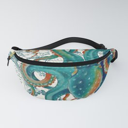 Teal Octopus Vintage Map Watercolor Fanny Pack