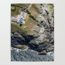 Arial views over Trevose Lighthouse, Cornwall Poster
