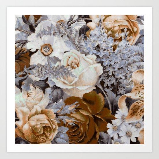 wintery floral Art Print