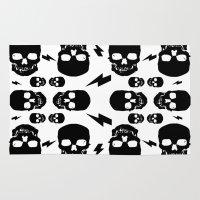 skulls Area & Throw Rugs featuring skullS by HEADBANGPARTY