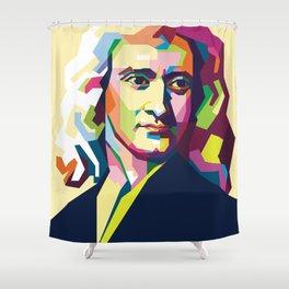 Sir Isaac Newton In Pop Art Portrait Shower Curtain