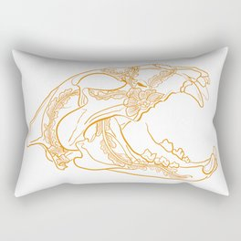 Lion skull with floral ornament Rectangular Pillow