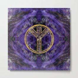 Algiz  Rune Amethyst and Gold Metal Print