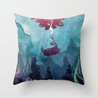 mermaid Throw Pillows featuring Mermaid by Serena Rocca