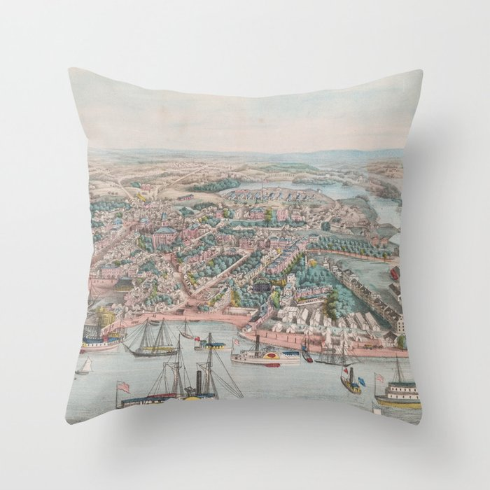 Vintage Pictorial Map of Annapolis MD (1864) Throw Pillow by ...