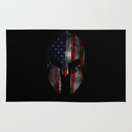 American Flag Spartan Helmet with Grunge Distress USA United States Rug