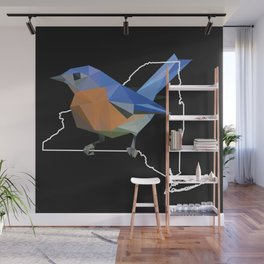 New York - Eastern Bluebird (Black) Wall Mural