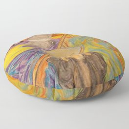 The Scream Personified a watercolor painting Floor Pillow
