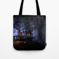 castlevania Tote Bags featuring Castlevania: Vampire Variations- Bridge by LightningArts