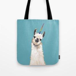 Unicorn Llama Blue Tote Bag