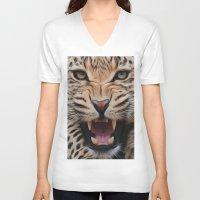 leopard V-neck T-shirts featuring Leopard   by Brian Raggatt