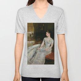 Portrait of Mrs. Cecil Wade by John Singer Sargent - Vintage Fine Art Oil Painting Unisex V-Neck