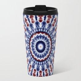 Mandala Fractal in Red White and Blue 02 Travel Mug