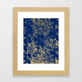 Navy Blue and Gold Patina Design Framed Art Print