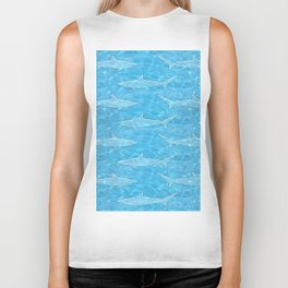 Pattern of sharks and blue water Biker Tank