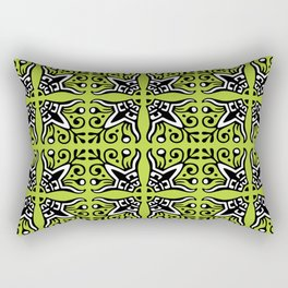 Funky Tribal Green Pattern Rectangular Pillow