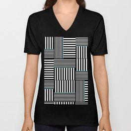 Black + White: Basket Weave Unisex V-Neck